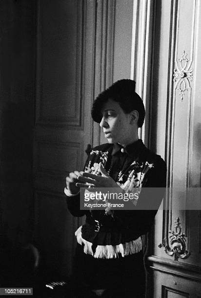 Portrait Of The Fashion Designer Elsa Schiaparelli In Her Offices At The Place Vendome In Paris In 1935