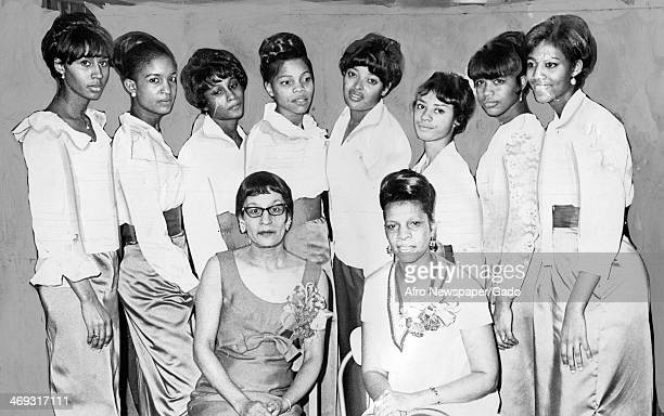 A portrait of the female members of 'The Clan' students of Morgan State College entertaining members of Alpha Iota Chapter of Kappa Alpha Psi...