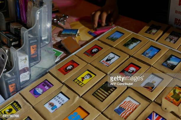 Portrait of the former President of United States of America Barack Obama is seen on a matchbox in Shanghai on August 15 2017 Trade tensions between...