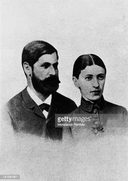 A portrait of the founder of psychoanalysis Sigmund Freud with fiancee Martha Bernays Austria 1880s