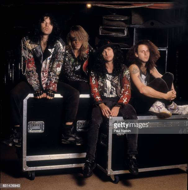 Portrait of the hard rock band Love/Hate at the Thirsty Whale in River Grove Illinois May 26 1990