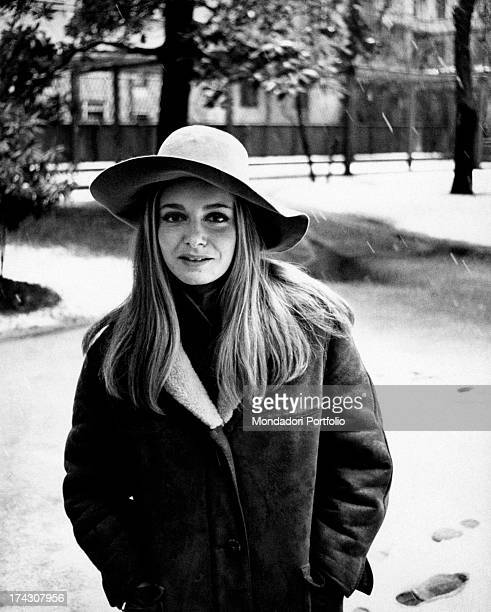 Portrait of the Italian actress Valeria Ciangottini wearing a wide brim hat and a sheepskin coat the actress was discovered by the Italian director...