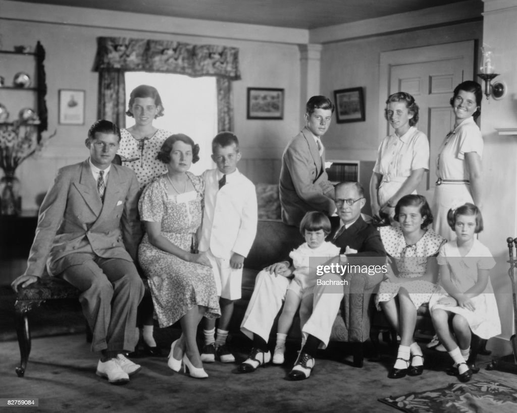 Portrait of the Kennedy family in their living room, Brookline, Massachussetts, 1930s. Front row from left: Joseph P Kennedy Jr (1915 - 1944), <a gi-track='captionPersonalityLinkClicked' href=/galleries/search?phrase=Rose+Kennedy&family=editorial&specificpeople=92491 ng-click='$event.stopPropagation()'>Rose Kennedy</a> (1890 - 1995), <a gi-track='captionPersonalityLinkClicked' href=/galleries/search?phrase=Robert+Kennedy+-+Attorney+General&family=editorial&specificpeople=94001 ng-click='$event.stopPropagation()'>Robert Kennedy</a> (1925 - 1968), Edward Kennedy, Joseph P Kennedy Sr (1888 - 1969), Patricia Kennedy (1926 - 2006), Jean Kennedy; back row from left: Eunice Kennedy, John F Kennedy (1917 - 1963), Kathleen Kennedy (1920 - 1948), and <a gi-track='captionPersonalityLinkClicked' href=/galleries/search?phrase=Rosemary+Kennedy&family=editorial&specificpeople=224828 ng-click='$event.stopPropagation()'>Rosemary Kennedy</a> (1918 - 2005).