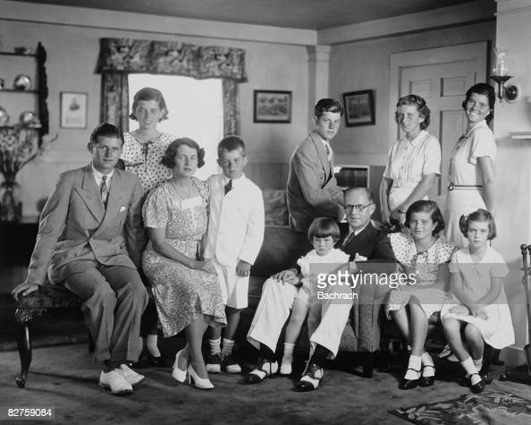 Portrait of the Kennedy family in their living room Brookline Massachussetts 1930s Front row from left Joseph P Kennedy Jr Rose Kennedy Robert...