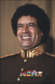 Portrait Of The Libyan Leader Muammar Al Gaddafi in Tunis 1983