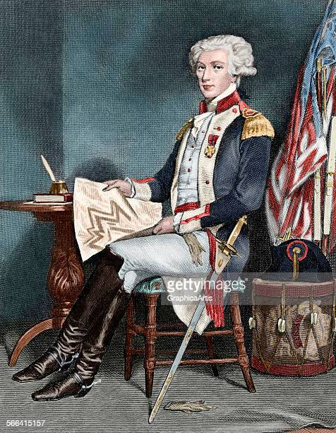 Portrait of the Marquis de Lafayette at his desk holding a map engraving 19th century