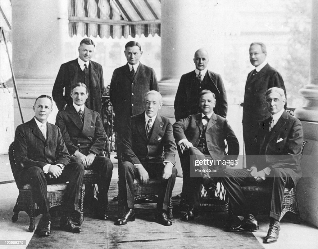 Portrait of the members of American President Woodrow Wilson's War Council during WWI, 1918. Pictured are, seated from left, Benedict Crowell, William G. McAdoo, President Wilson, Josephus Daniels, and Bernard Beruch; standing from left, Herbert Hoover, Edward M. Hurley, Vance McCormick, and James Garfield.
