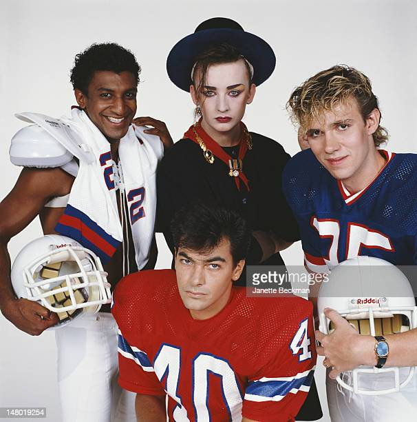 Portrait of the members of the British pop group Culture Club as they pose against a white background New York New York 1983 Pictured are from left...