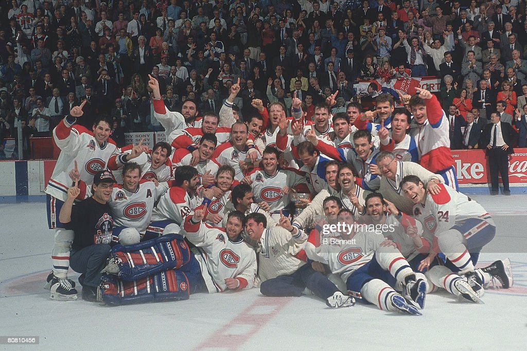 Portrait of the Montreal Canadiens hockey team as they pose on the after defeating the Los Angeles Kings in the Stanley Cup finals Montreal Quebec...