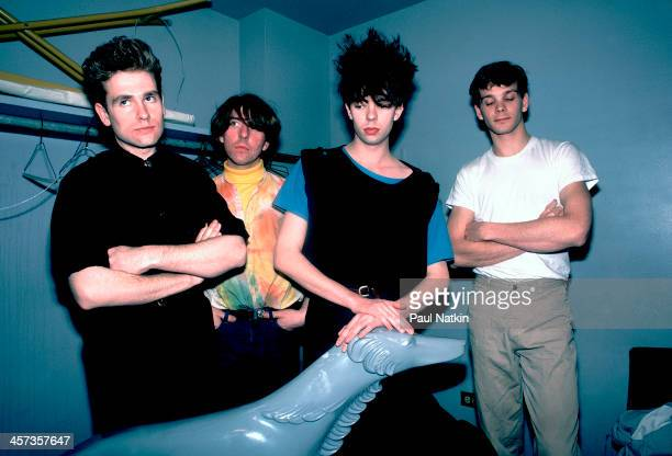 Portrait of the music group Echo and the Bunnymen backstage at Park West auditorium Chicago Illinois March 21 1984