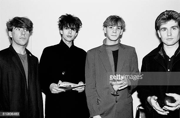 Portrait of the music group Echo and the Bunnymen backstage at Park West auditorium Chicago Illinois October 12 1981 Pictured are from left Will...