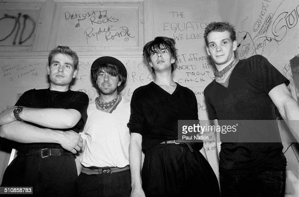 Portrait of the music group Echo and the Bunnymen backstage at Tuts nightclub Chicago Illinois April 11 1981 Pictured are from left Les Pattinson...