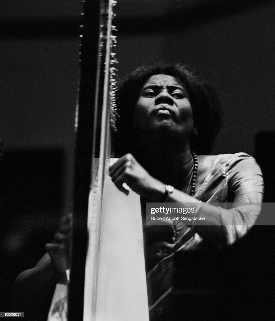 Portrait of the musician Alice Coltrane (1937 - 2007), performing during a concert at Fisk University, Nashville, TN, 1971.