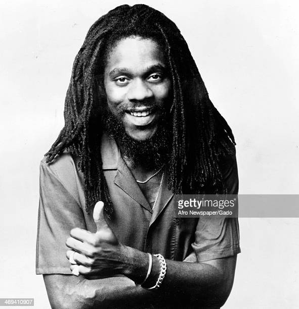 A portrait of the musician Dennis Brown a Jamaican reggae singer with long dreadlocks and moustache November 3 1980