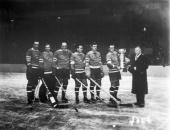 Portrait of the New York Rangers as they accept the Stanley Cup from National Hockey League President Frank Calder Tornoto Ontario Canada April 13...
