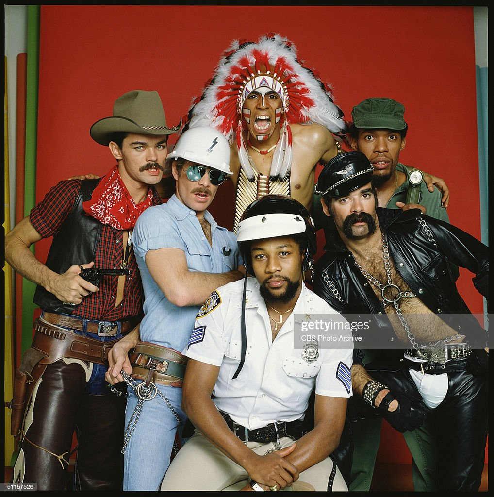Portrait of the original members of the American disco group The Village People, from left to right: Randy Jones (the cowboy); David Hodo (the construction worker); Felipe Rose (the American Indian); Victor Willis (the cop); Glenn Hughes (the leatherman) and Alexander Briley (the G.I.).
