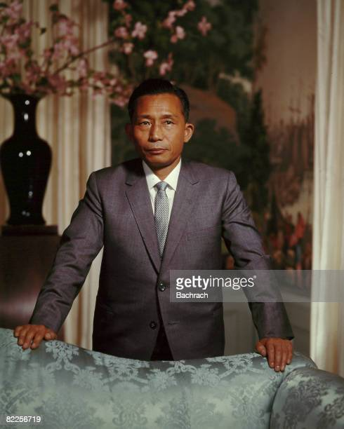Portrait of the President of South Korea Park Chunghee standing with arms resting on the back of a couch United States 1960s Chunghee was a former...
