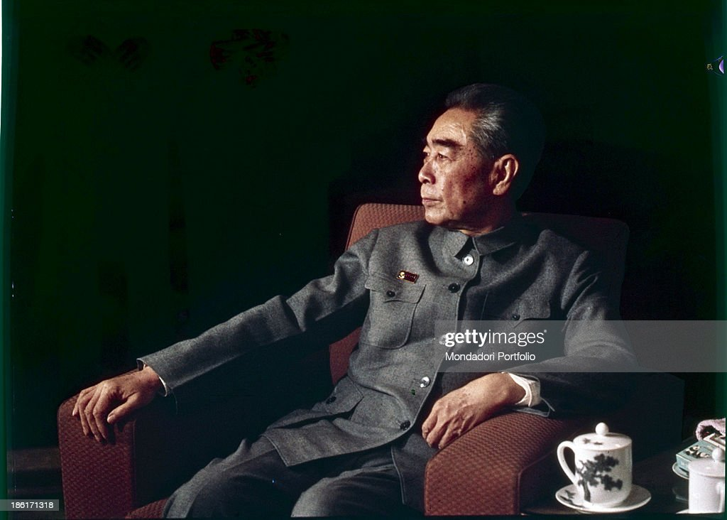 Portrait of the Prime Minister of the People's Republic of China Zhou Enlai sitting on an armchair Beijing 1973