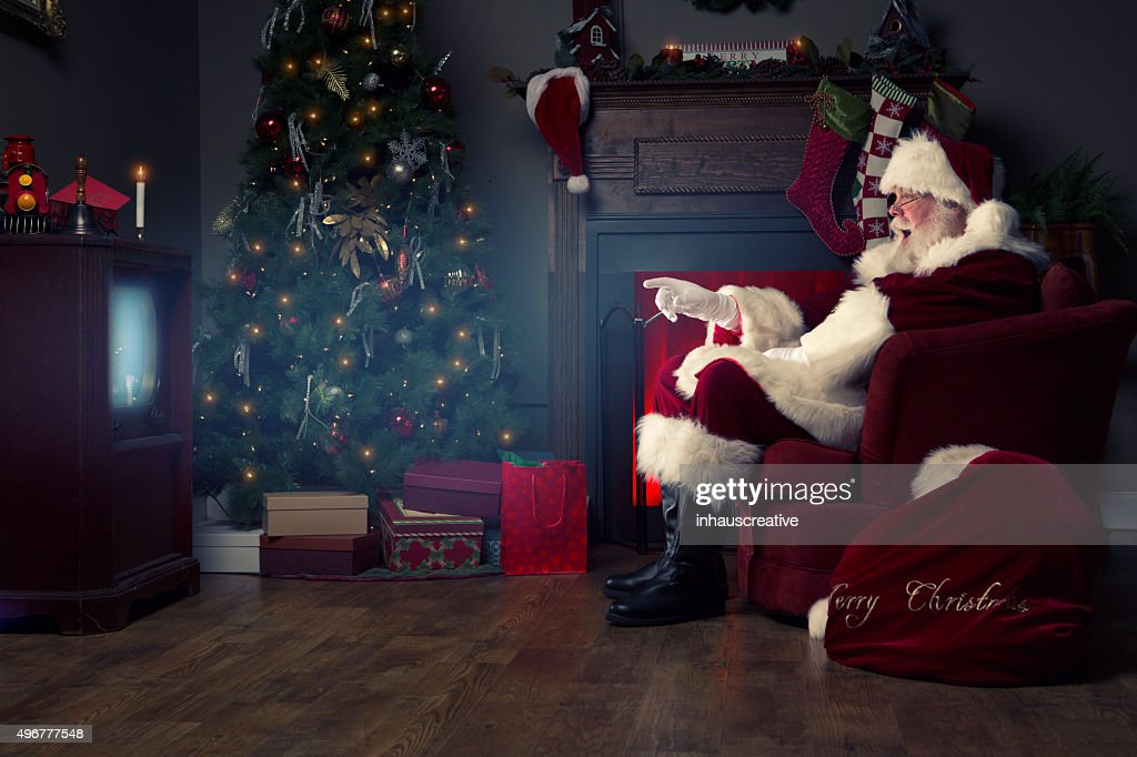 Portrait of the Real Santa Claus watching TV
