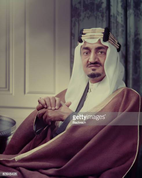 A portrait of the Saudi Arabian King Faisal ibn Abdul Aziz Al Saud wearing a traditional headdress United States mid20th century