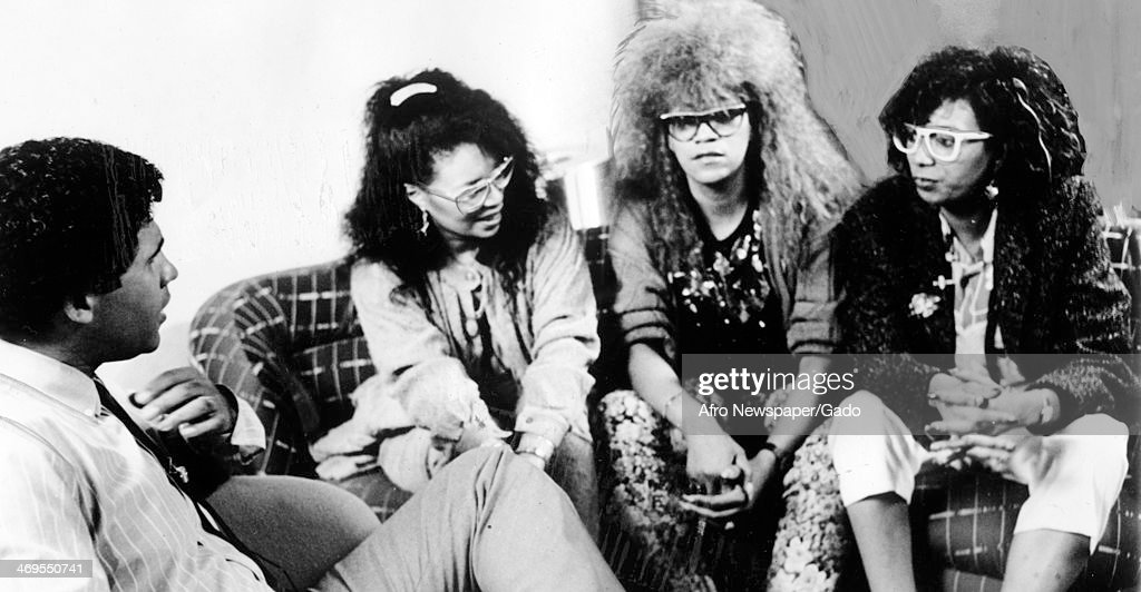 A portrait of the singers The Pointer Sisters in an interview with Ebony Jet Showcase host Greg Gumbel 1985