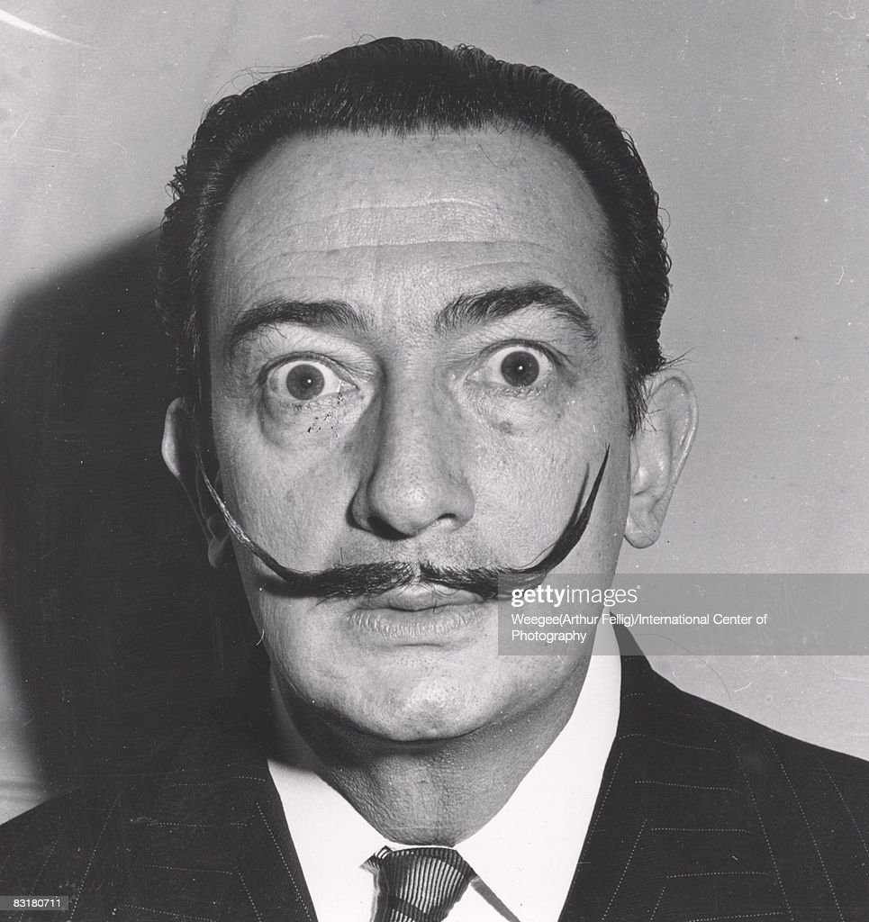 Portrait of the Spanish surrealist painter and sculptor <a gi-track='captionPersonalityLinkClicked' href=/galleries/search?phrase=Salvador+Dali&family=editorial&specificpeople=94477 ng-click='$event.stopPropagation()'>Salvador Dali</a> (1904 - 1989), New York, ca. 1950s. (Photo by Weegee(Arthur Fellig)/International Center of Photography/Getty Images)