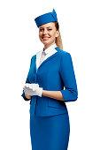 Portrait of the stewardess. White background.