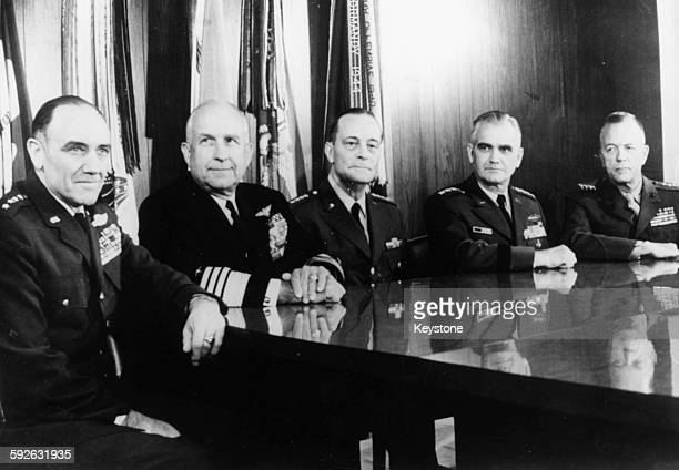 Portrait of the United States Joint Chiefs of Staff General John D Ryan Admiral Thomas H Moorer General Earle G Wheeler General William C...