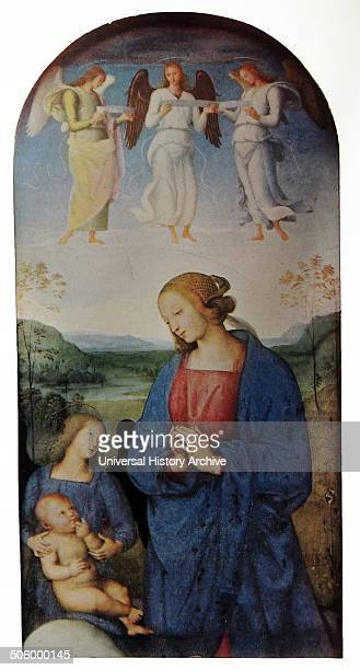 Portrait of the Virgin adoring the Infant Christ The Archangel Saint Michael holds the infant whilst angels watch from above Previously an alterpeice...