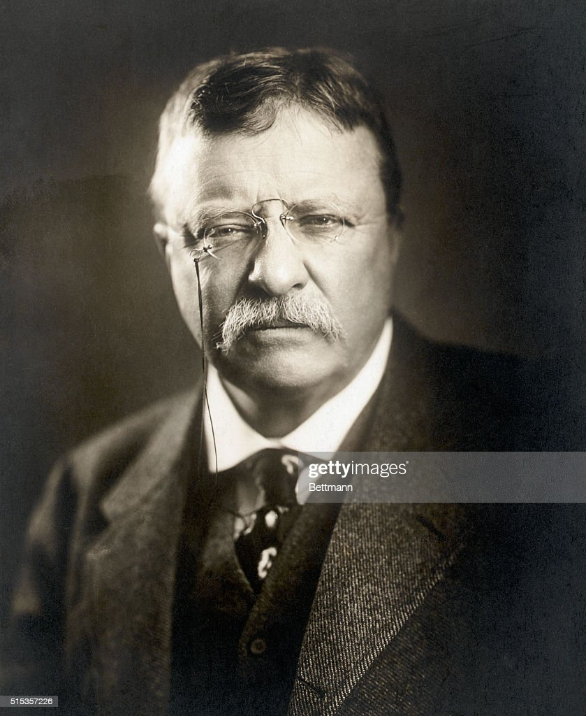 Portrait of Theodore Roosevelt, 26th President of the United States (1901-1909), wearing a pair of pince-nez and showing full face. Undated photograph, circa 1905.