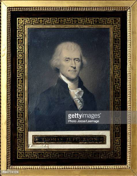 Portrait of Thomas Jefferson Drawing by Bouch black chalk heightened with white Musee du palais de Malmaison France