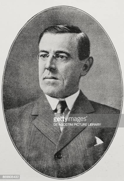 Portrait of Thomas Woodrow Wilson XXVIII President of the United States of America from L'Illustrazione Italiana Year XLIV No 6 February 11 1917