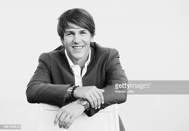 A portrait of Thorbjorn Olesen Denmark poses ahead of the Volvo World Match Play Championship at Thracian Cliffs Golf Beach Resort on May 14 2013 in...