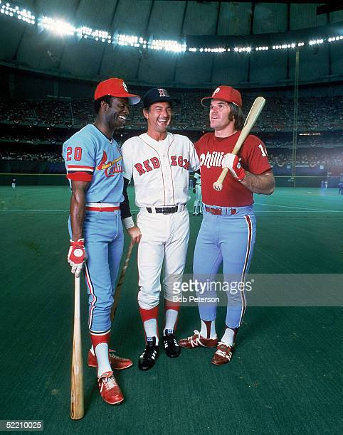 Portrait of three Americna baseball players at the AllStar Game Seattle Washington July 17 1979 From left Lou Brock from the St Louis Cardinals Carl...