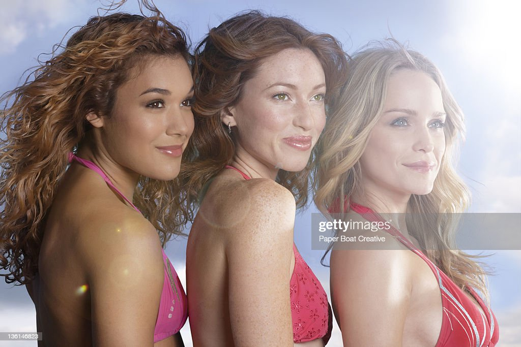 portrait of three beautiful ladies outdoors : Stock Photo