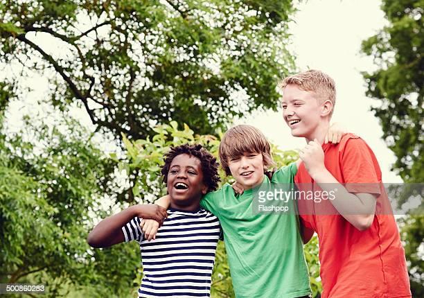 Portrait of three boys laughing