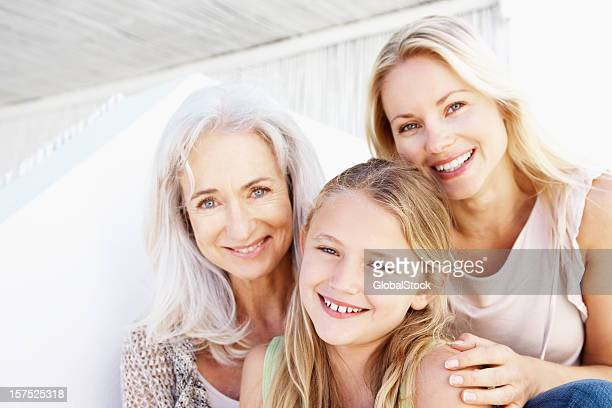 Portrait of three generational family smiling