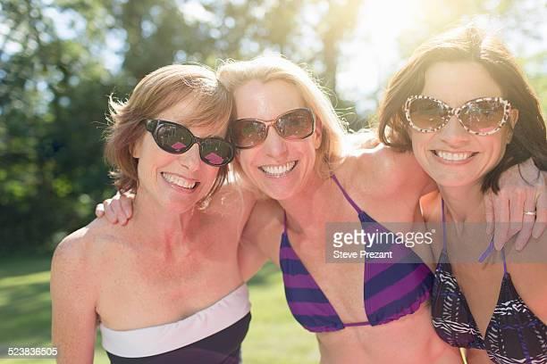 Portrait of three mature women in swimwear