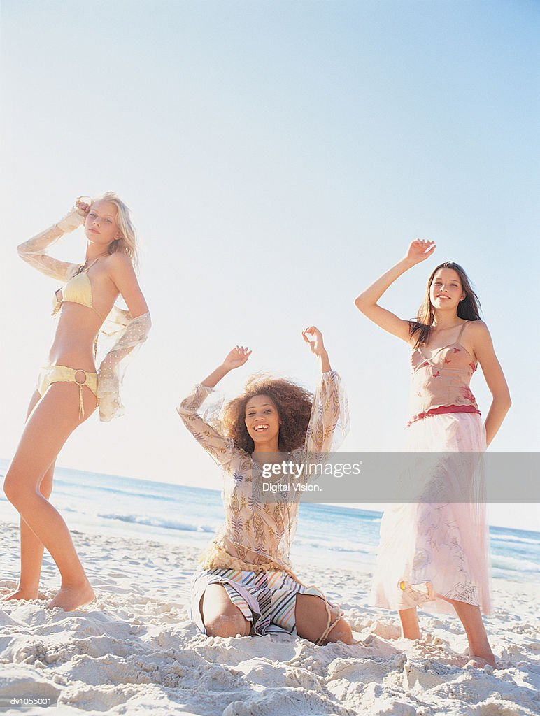 Portrait of Three Young Women on the Beach : Stock Photo