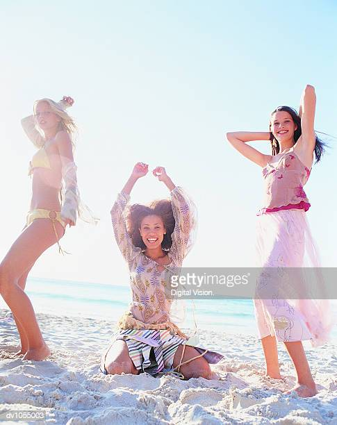 Portrait of Three Young Women on the Beach
