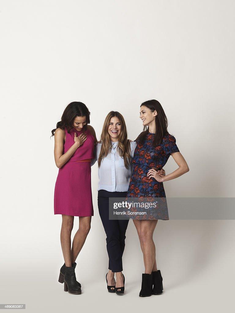 Portrait of three young women : Foto de stock