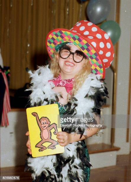 Portrait of Tiffany Trump in a costume as she laughs during her fifth birthday party at the MaraLago estate Palm Beach Florida October 13 1998