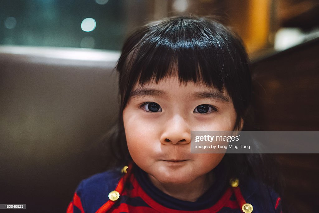 portrait of toddler girl smiling at camera : Stock Photo