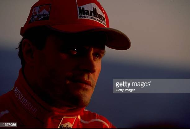 A portrait of Tommi Makinen of Finaland and Mitsubishi Lancer during the World Rally Championships in Monte Carlo Monaco Picture Germano Gritti...