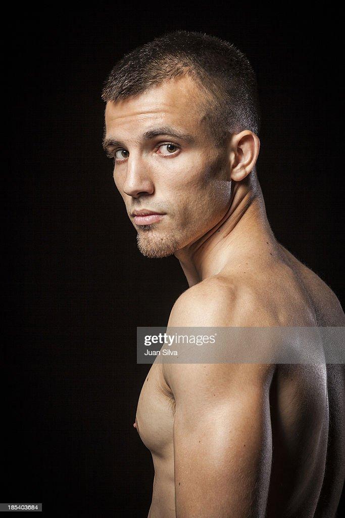 Portrait of topless man : Stock Photo