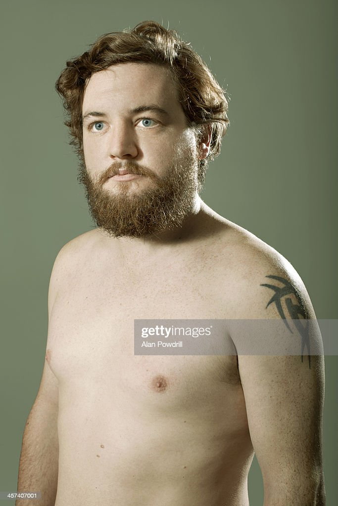 Portrait of topless man with beard : Stock Photo