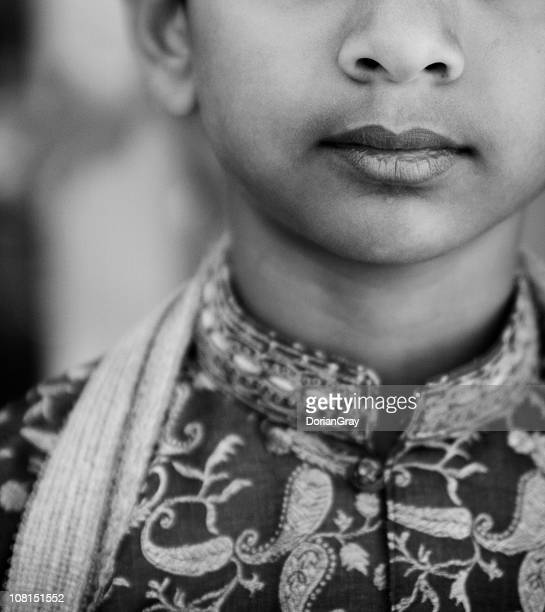 Portrait of Traditional Indian Boy, Black and White