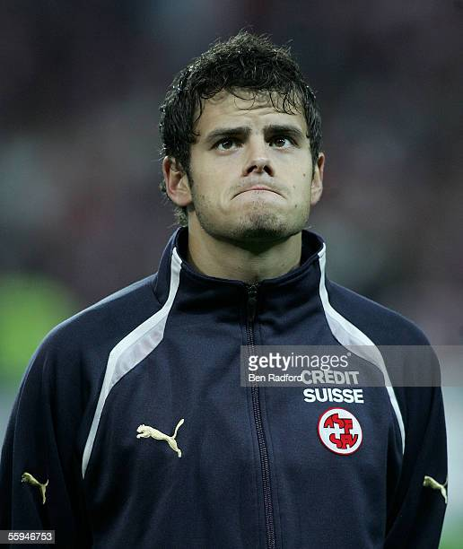 A portrait of Tranquillo Barnetta of Switzerland during the FIFA World Cup Qualifying Group Four match between Switzerland and France at the Stad de...