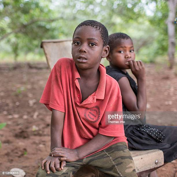 Portrait of two African children on a cashew farm on September 06 2016 in Congo Ghana