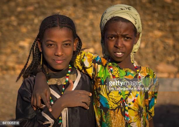 Portrait of two Argoba girls on January 12 2017 in Koremi Ethiopia